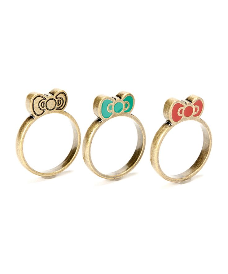 Rede & Teal Hello Kitty Southwestern Ring Set