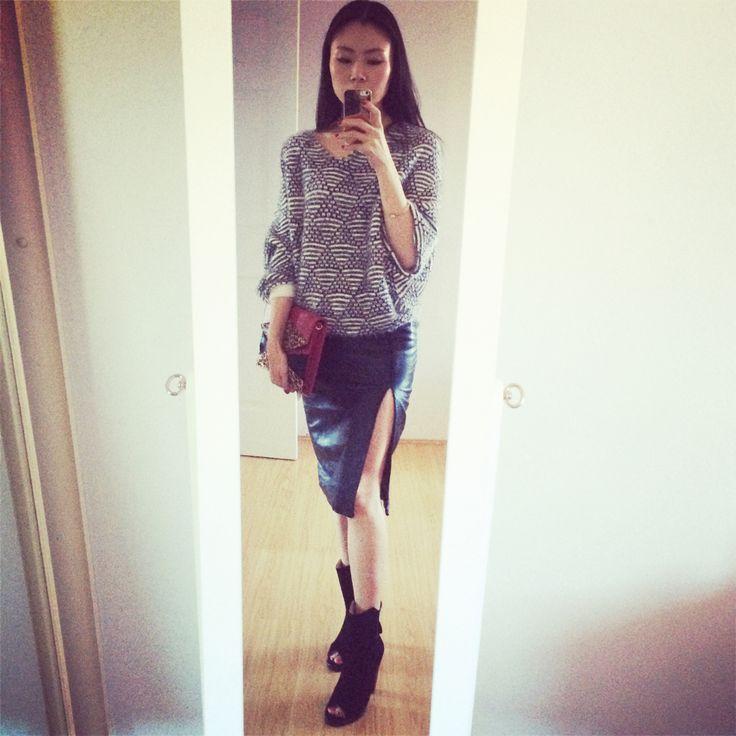 Split leather skirt + peep toe boots + monochrome sweater