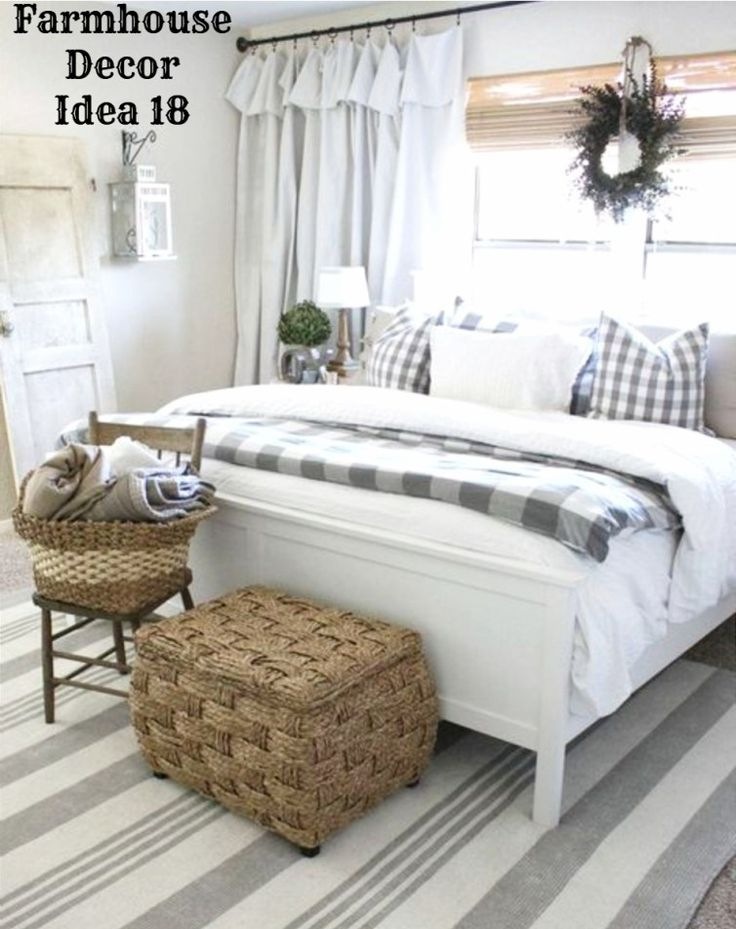 Country farmhouse bedroom decorating idea love