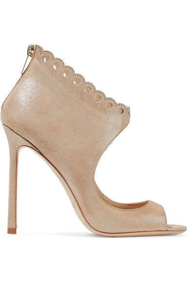 Jimmy Choo - Blythe Scalloped Suede Sandals - IT36.5