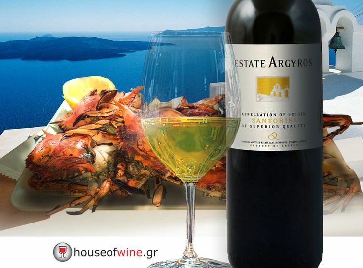 """http://www.houseofwine.gr/how/intl/ktima-argyrou-leykos.html After the Greek Easter (""""Pasha""""), sea food is just perfect... especially crabs paired with the excellent Assyrtiko from Santorini, Estate Argyros, with bursting acidity, minerality, the best experssion of Santorini's famous terroir... Delivered at you door, by House of Wine, in any EU country!"""