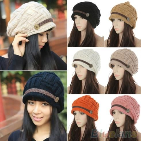 Cheap hats ball caps, Buy Quality cap america hats directly from China hat cards Suppliers:  Women's Fashion Braided Autumn Winter Warm Baggy Beanie Knit Crochet Ski Hat Cap          This braided autumn
