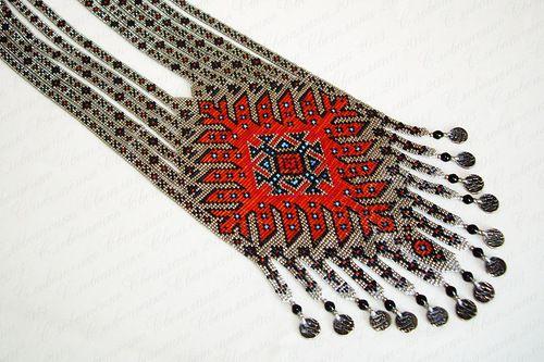 Гердан Балутш (Белудж, Beluch или بلوچ) из Афганской коллекции, Бисерный Дизайн-2013. Станочное ткачество, бисер Toho №15. По мотивам ковровой орнаментики афганских белуджей.