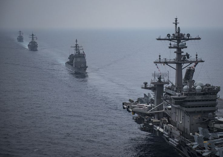 https://flic.kr/p/VxfCnX | 170601-N-GD109-398 | SEA OF JAPAN (June 1, 2017) The Carl Vinson Carrier Strike Group, including the aircraft carrier USS Carl Vinson (CVN 70), Carrier Air Wing (CVW) 2, the guided-missile cruiser USS Lake Champlain (CG 57) and the guided-missile destroyers USS Wayne E. Meyer (DDG 108) and USS Michael Murphy (DDG 112), operates with the Ronald Reagan Carrier Strike Group, including USS Ronald Reagan (CVN 76), CVW-5, USS Shiloh (CG 67), USS Barry (DDG 52), USS…