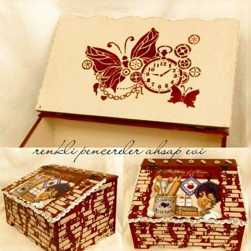 Ekmek kutusu, ahşap boyama ,breadbox,farmhouse