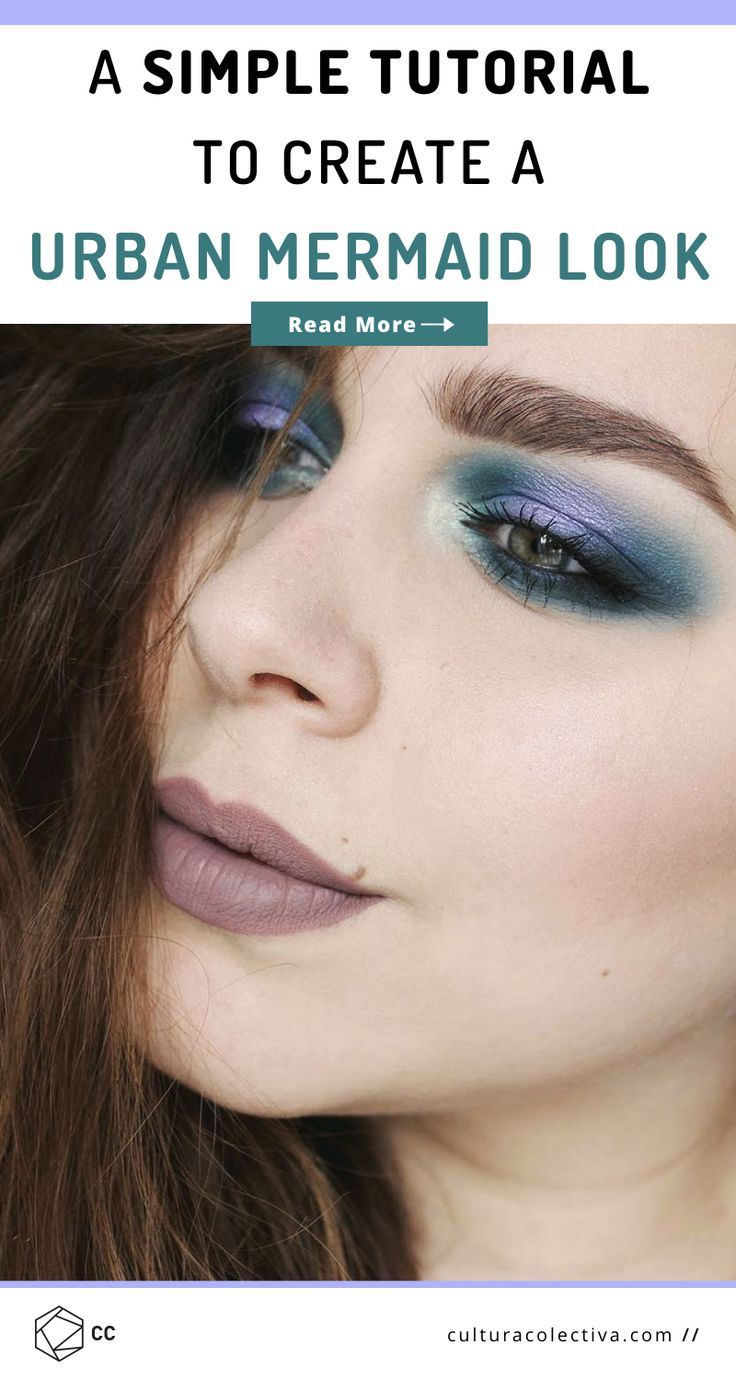 An Easy Way To Achieve A Perfect Urban Mermaid Look.  An easy makeup tutorial to achieve an urban mermaid look using turquoise and purple eyeshadow #makeuptutorials #makeupinspo #creativemakeup