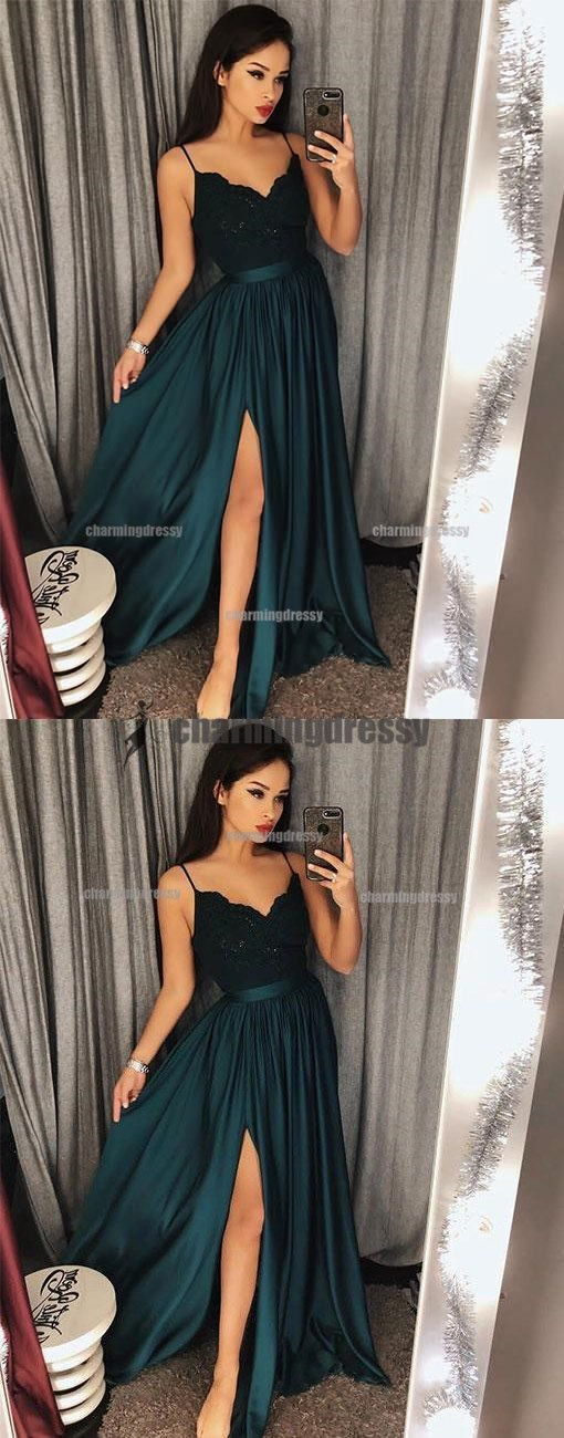 Spaghetti Straps Simple Popular Lace Top Side Split Prom Dresses, Evening Dresses, PD0485