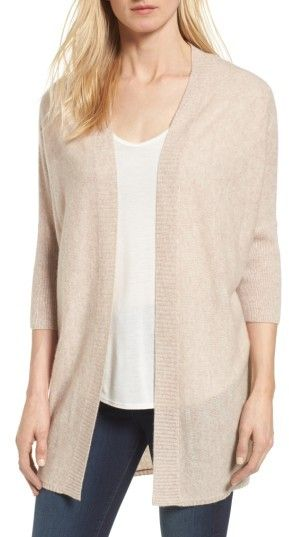 Women's Halogen Three-Quarter Sleeve Cashmere Cardigan. Fashioned from sumptuous fine-gauge cashmere in a relaxed, open-front silhouette, this go-to cardi is a soft, cozy way to chase away the chill. (afflink)