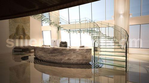 escalera circular con zancas laterales para edificio comercial (estructura y peldaños de vidrio) FLY COMMERCIAL Siller Stairs