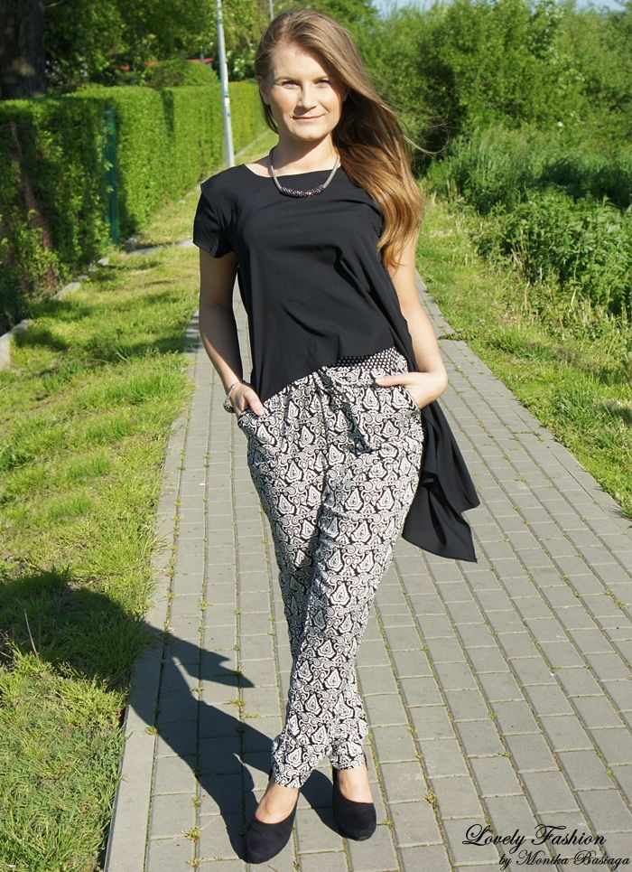 bluzka / blouse - Be Beau (second hand) spodnie / pants - New Yorker (SS'14) buty / shoes - Zara (second hand) bransoletka, naszyjnik / bracelet, necklace - NN (gift from my cousin / prezent od kuzynki:); black and white spring outfit
