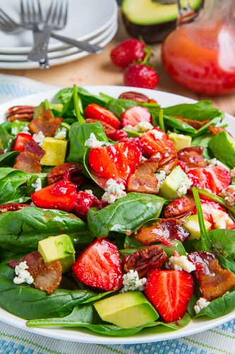 Strawberry and Avocado Spinach Salad in Raspberry Balsamic Vinaigrette from ClosetCooking.com