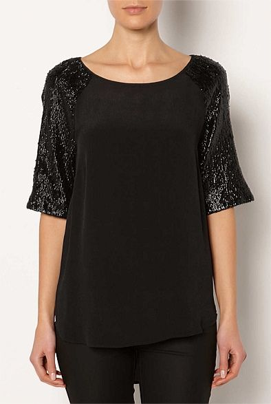 Womens Designer Clothing & Fashion Online | Witchery - Embellished Sleeve Tee #witcherywishlist