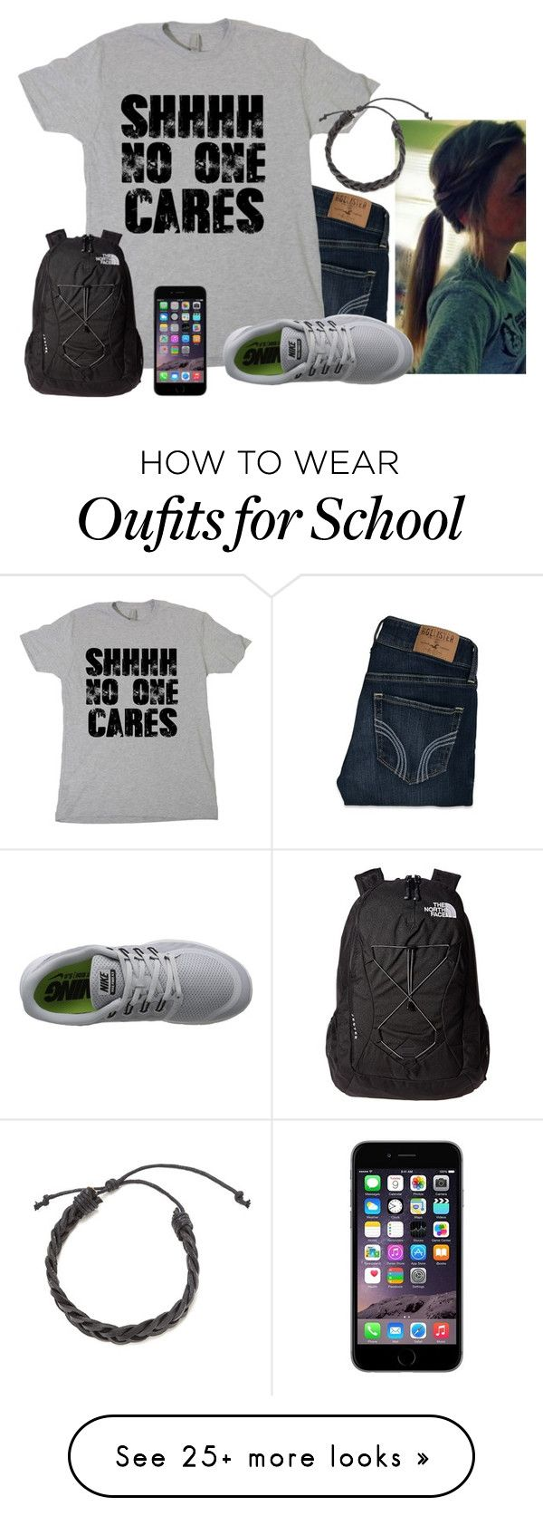 """ugh, school again..."" by hintzj2020 on Polyvore featuring Hollister Co., NIKE and The North Face"