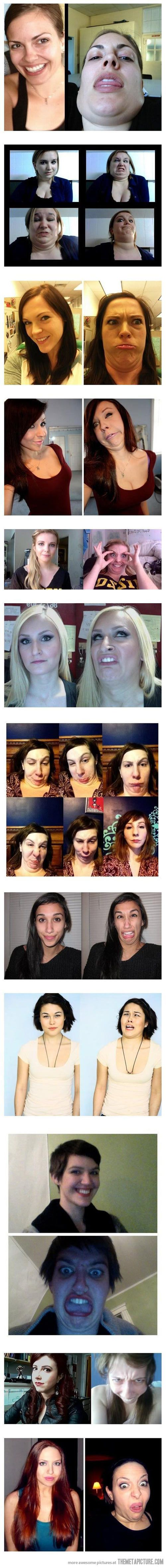 When you're feeling down or insecure about your looks, remember these photos. Beautiful ppl make some freakin weird faces just like you! Bwahaha