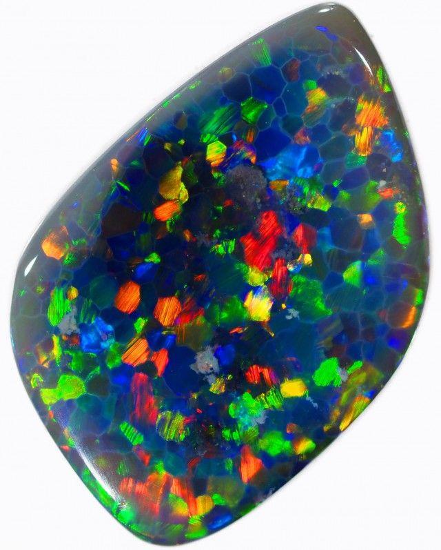 1.75 CTS BLACK OPAL STONE -WELL POLISHED [BO296] australian black opals charff pattern honey comb pattern