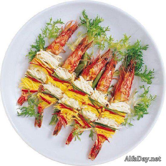 Аппетитные блюда с креветками на белом и прозрачном фоне - растровый клипарт