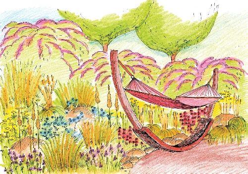 Květinová oáza překypující barvami nabízí klidné a příjemné útočiště pro majitele zahrady, který si klid vychutná třeba v houpací síti.