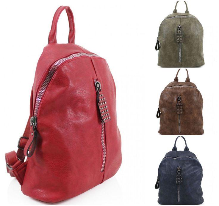 Girls Large Studded Zipper Backpack Women Grab Handle Rucksack School Gym Bags