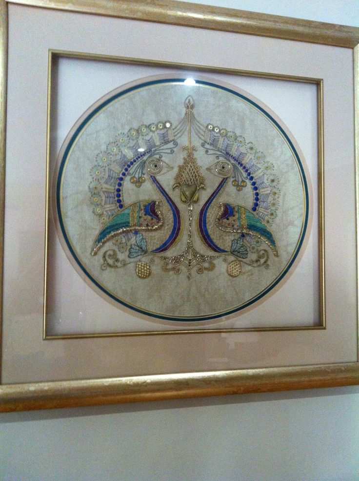 Peacocks in gold and raj mahal thread , designed by Barbara Farmer