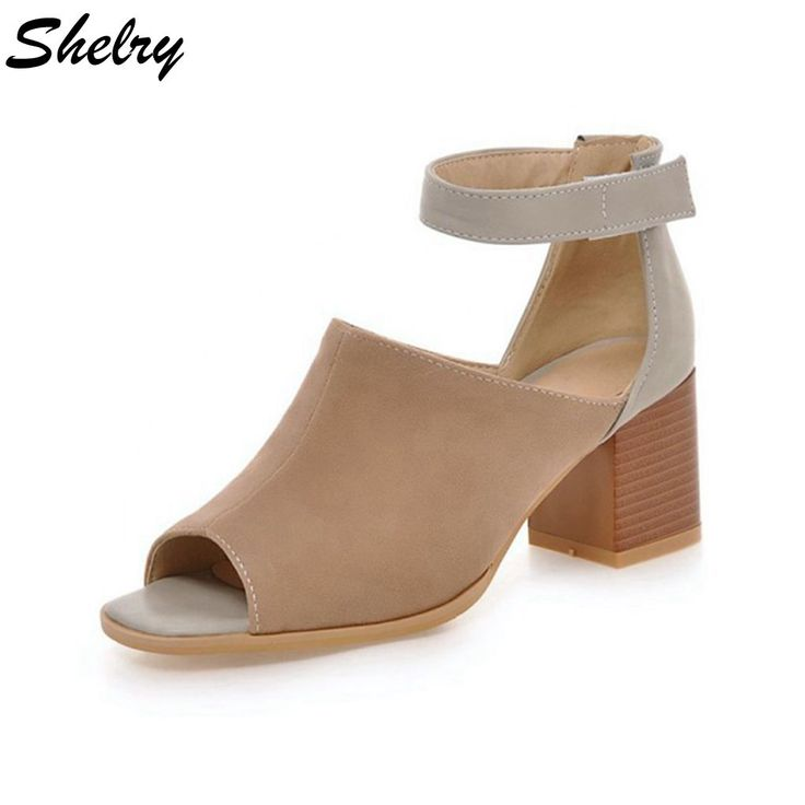 shoes women 2016 thick high heels open toe ankle straps shoes nubuck leather quality cool pumps brand design plus size 34-43