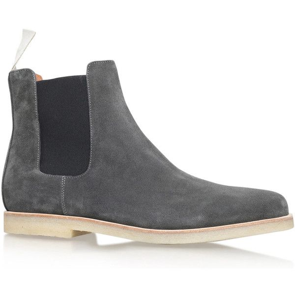 Common Projects Grey Suede Chelsea Boots ($455) ❤ liked on Polyvore featuring men's fashion, men's shoes, men's boots, mens gray chelsea boots, mens grey shoes, mens grey suede boots, mens gray dress shoes and mens suede shoes