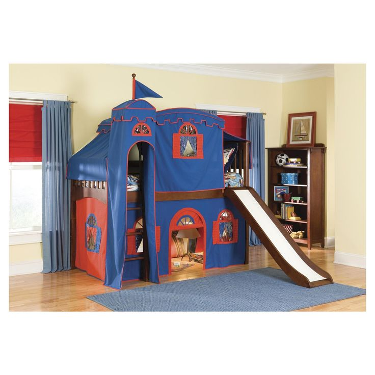 Mission Low Loft Bed with Tower Tent and Curtains (Twin) - Bolton Furniture, Red