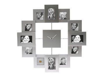 PT Photo Frame Clock Family Time Brushed, Aluminium Silver