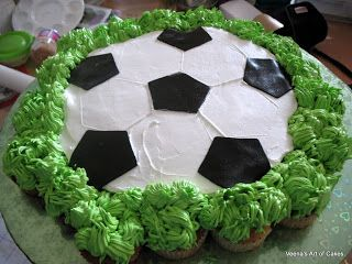 Veena's Art of Cakes: How to make a Pull-a-part Cupcake Soccer Ball cake