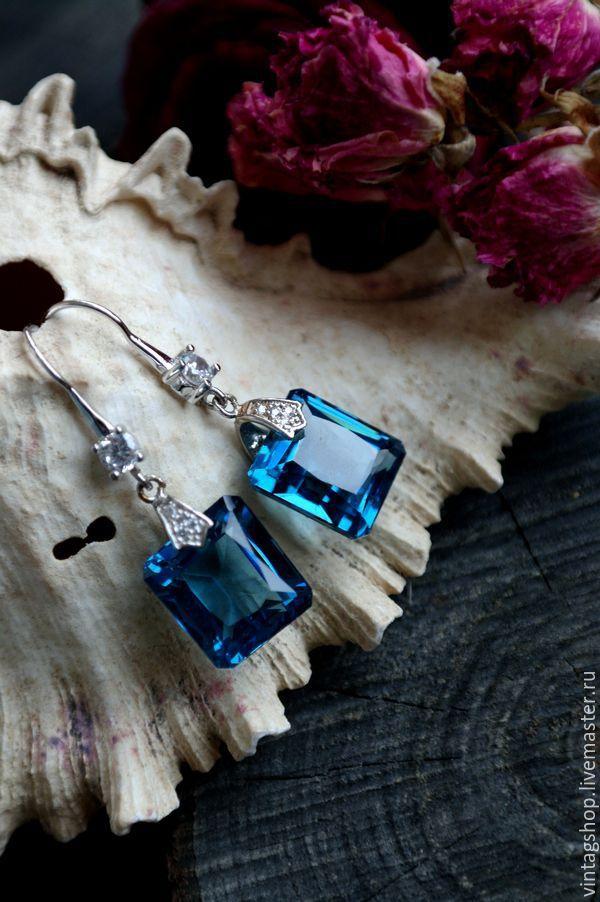 Купить Серьги серебрянные с Топазами драгоценные камни - синий, серьги с топазами, серьги с топазом