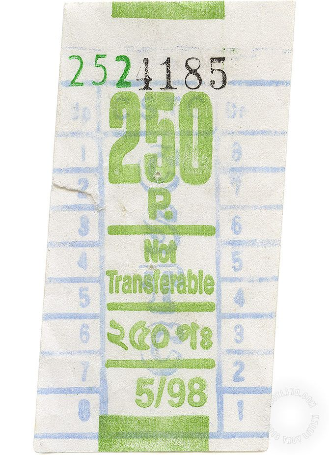 A rather poorly trimmed bus ticket from somewhere in India.