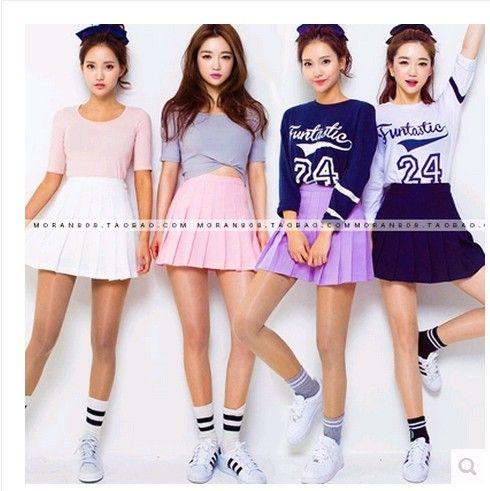 Women Mini Skirt Skort Stylenanda Macarons Candy Color Pleated Shorts Skirts Women American Apparel Korean Active Casual Falda