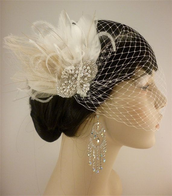 Rhinestone, Pearl, Silver Beaded Bridal Ivory Feather Fascinator, Rhinestone Hair Clip, Bridal Fascinator, Fascinator, Bridal Veil