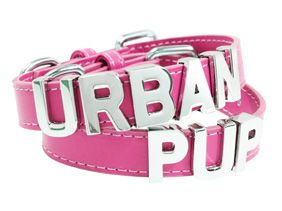 Fuschia Leather Personalised Dog Collar (Chrome Letters) | Dog Coats at Urban Pup