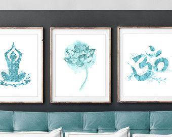 Set of 3 Indian Spiritual Wall Art. Zen art. Om, Meditation, Yoga, Lotus, Living room decor/Gifts/. Classical Art/ Yoga room art.