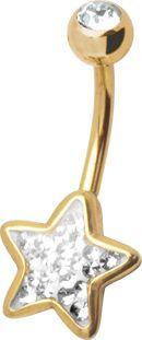 14G GOLD STEEL CRYSTAL STAR BANANA WITH GLOSS FINISH
