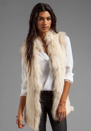 GRAHAM & SPENCER Rabbit Fur Vest in Ivory ~ i LOVE this but wont wear unless its fake fur :(