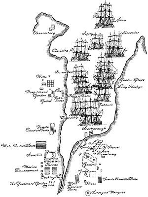 First fleet position in harbour
