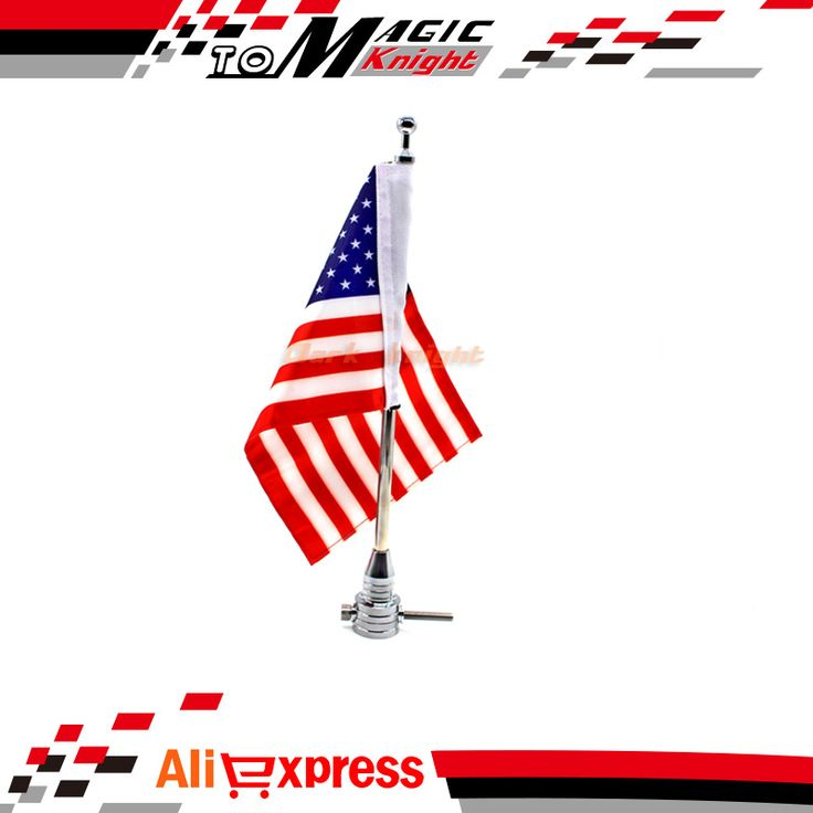 For Harley Davidson XL883 XL1200 Chrome Motorcycle Flag Pole and American Flag