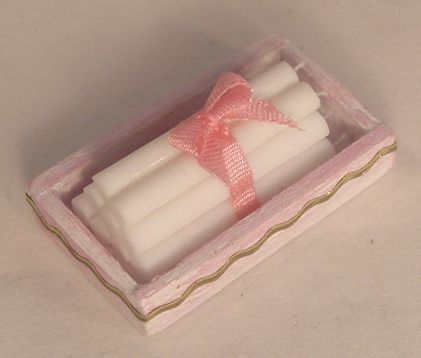 Candles in Wood Box Pink by Syreeta's Miniatures