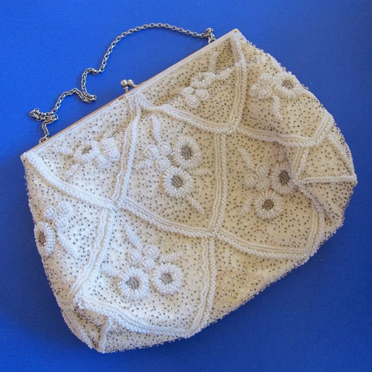 New Listing - Magid Hand Beaded in France Cream Special Occasion Purse