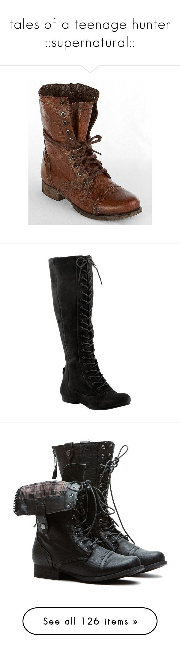 """""""tales of a teenage hunter ::supernatural::"""" by demiwitch-of-mischief ❤ liked on Polyvore featuring shoes, boots, botas, combat boots, brown, brown combat boots, leather lace up boots, brown mid calf boots, lace up combat boots and steve madden boots"""