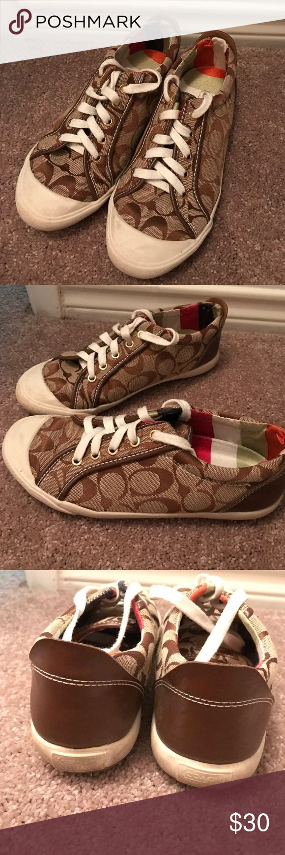 Coach tennis shoes Adorable Coach tennis shoes in the tan print. Very comfortable! Some wear can be seen on the rubber part of the shoe (pictured). Otherwise in great condition! Perfect for spring/summer! Coach Shoes Sneakers