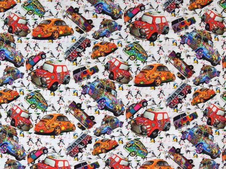 Baumwolljersey Hippie Autos, Digitaldruck, weiss
