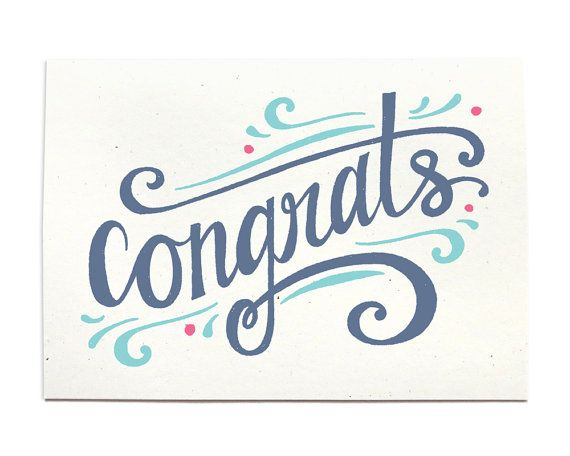 Congrats  Congratulations Greeting Card  Congrats by HennelPaperCo