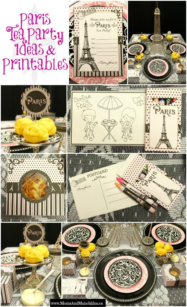 Paris Tea Party Printables - an adorable Paris Party set perfect for a birthday or an afternoon play date.