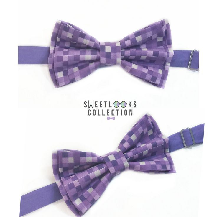 Purple Pixel Bow Ties And Hair Bows
