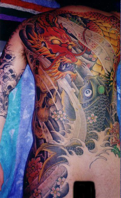 "Japanese ""go well with"" by Horisei from Yokohama, Japan #irezumi #tebori #bodysuit #japa…"