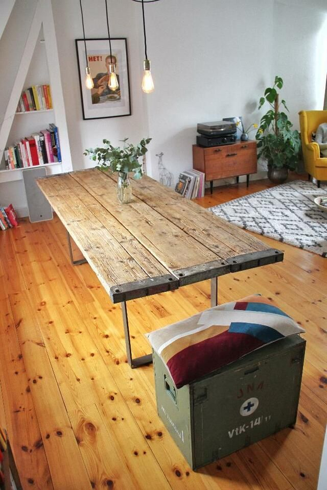 Esstisch Aus Gerustbohlen Holztisch Massivholz Stahlfusse In Altona Hamburg Ottensen Gerustbohlen Holztisch Selber Bauen Holztisch
