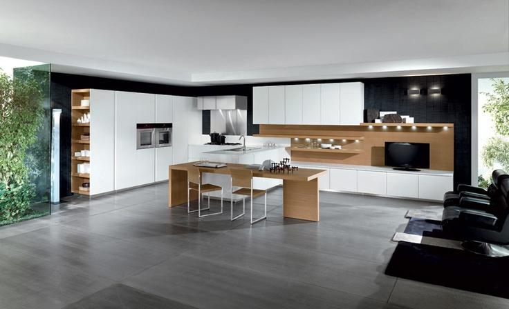 FEBAL - Vogue Over. Cuisine design, cuisine contemporaine au style épuré, façade blanche et décors bois naturel. On adore ! Contactez-nous pour un devis !