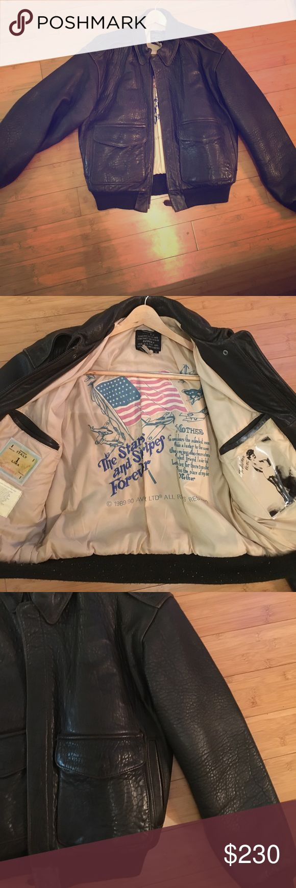 Authentic Avirex leather pilot jacket Check this out. This iconic jacket is awesome. A distressed leather sort of look. In excellent condition. Some light signs of wear. A little pilling around cotton elastic that hugs hips. A little bit of signs of wear on leather and overall just in excellent condition. avirex Jackets & Coats Bomber & Varsity